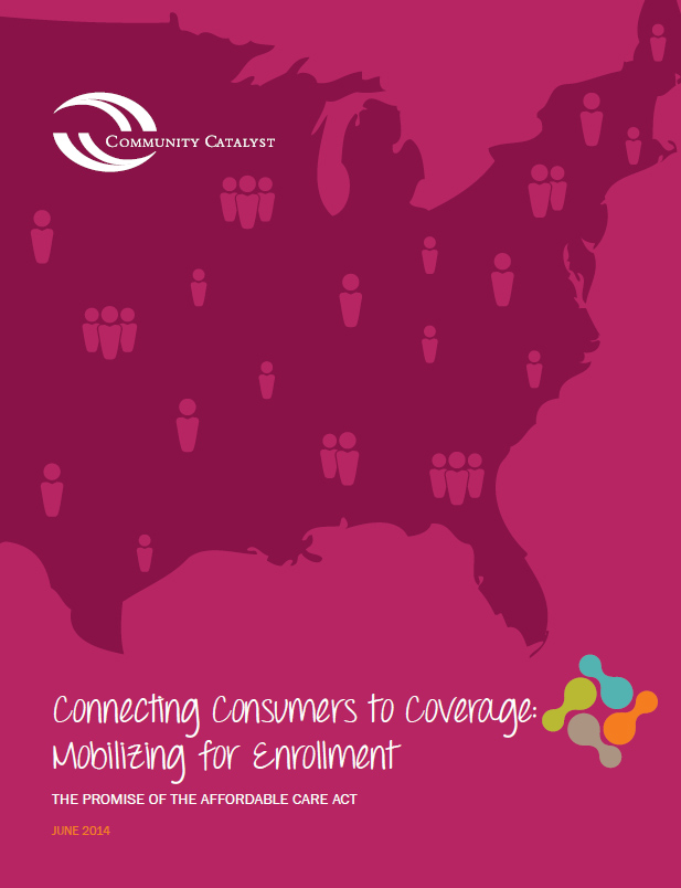 Pink report cover with the map of the United States and Community Catalyst's logo